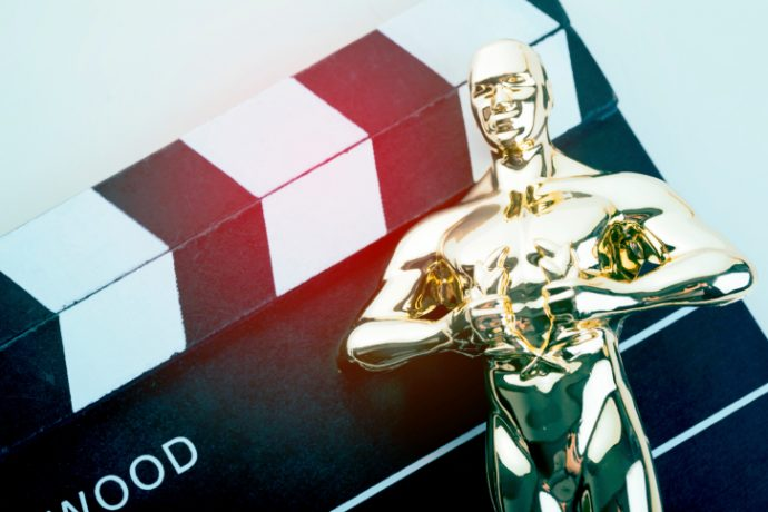 Awards trophy and clapper board