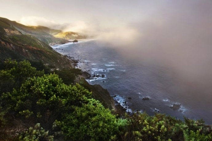 The coastline in the morning near Big Sur, California